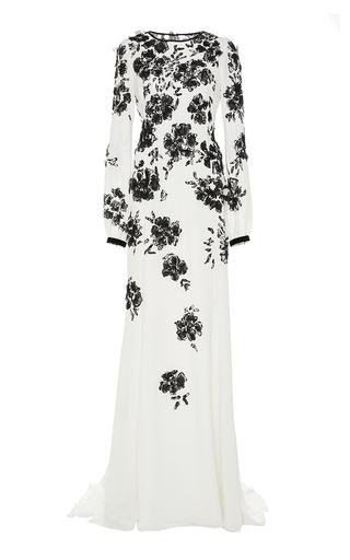 Medium oscar de la renta white embroidered silk long sleeve gown