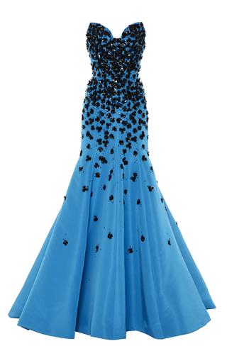 Medium oscar de la renta blue embroidered floral applique strapless gown
