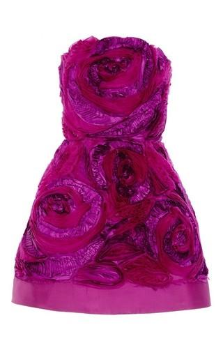 Medium oscar de la renta burgundy strapless organza taffeta flower embroidery dress