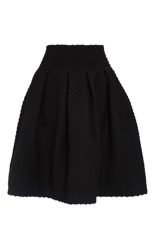 Medium oscar de la renta black two pocket full pleat skirt