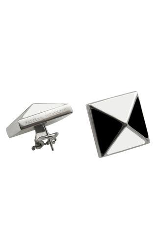Medium delfina delettrez white pyramid stud earrings 3