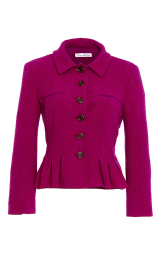 Medium oscar de la renta burgundy three quarter sleeve pleated jacket