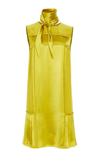Medium oscar de la renta yellow peridot sleeveless pleated shift dress with scarf