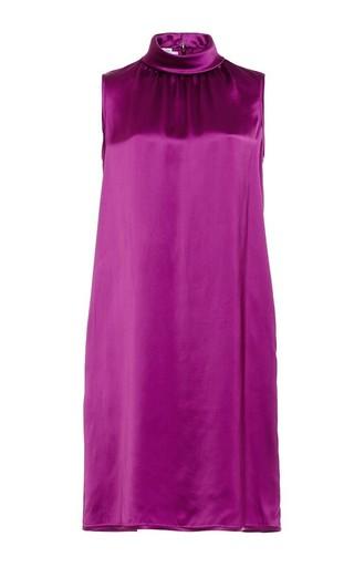 Medium oscar de la renta burgundy ultraviolet sleeveless roll collar shift dress