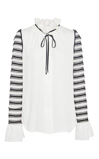 Medium oscar de la renta white long sleeve ruffle tie neck blouse