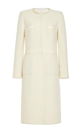 Medium oscar de la renta white merino wool collarless coat