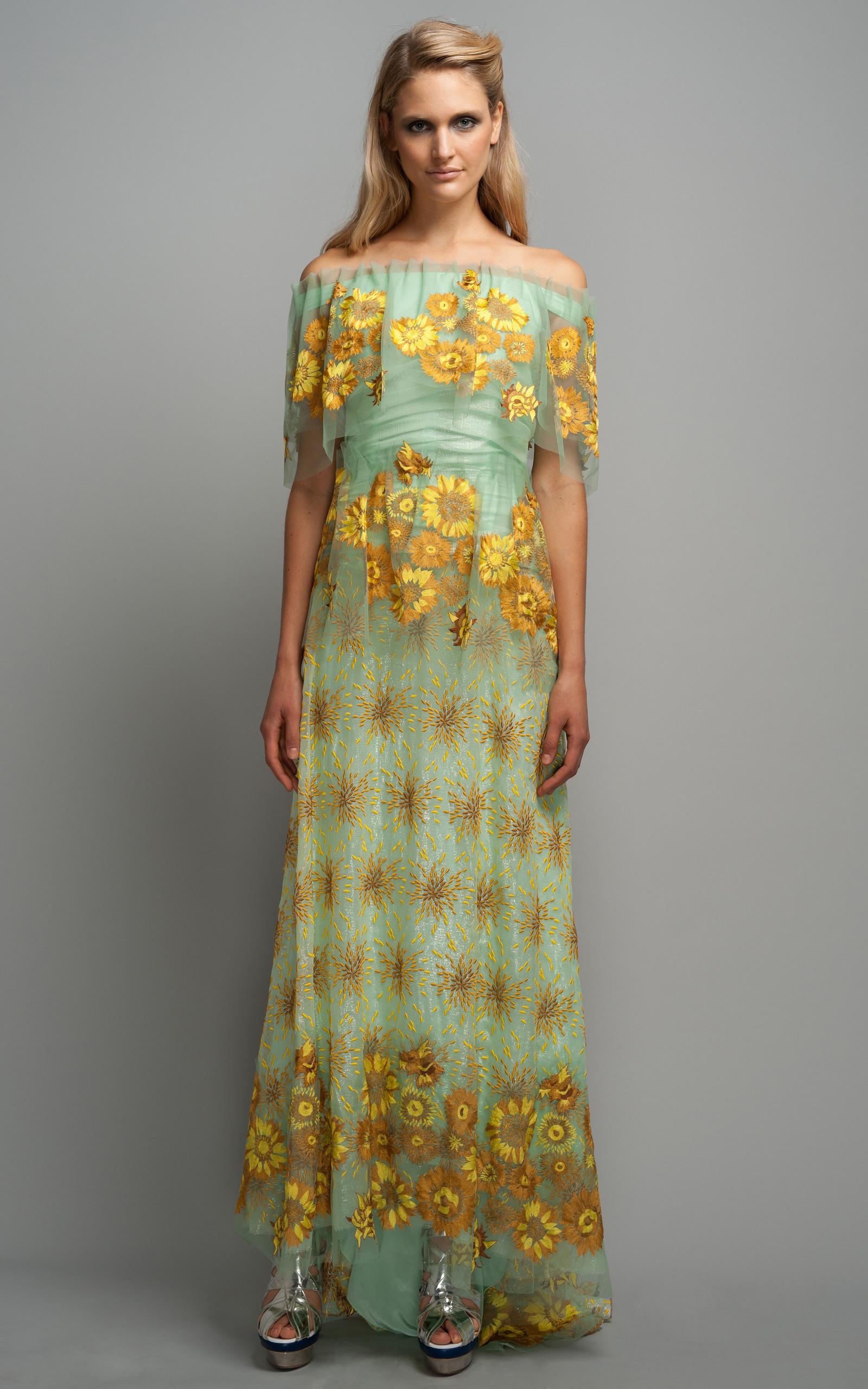 Moda Operandi | Seafoam Sunflower Gown by Rodarte
