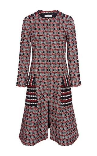Medium oscar de la renta red wool cotton collarless coat