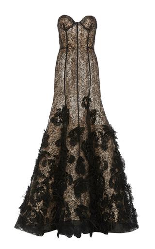 Medium oscar de la renta black sweetheart grid lace sequin embroidery gown