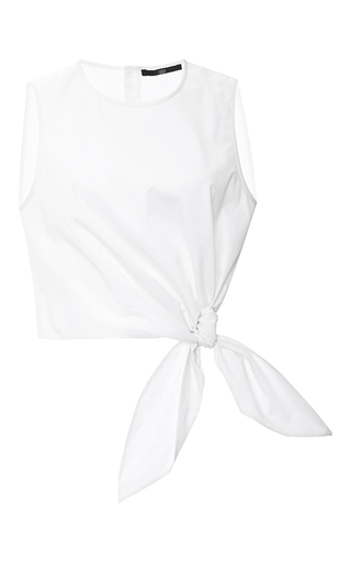 Medium tibi white satin poplin crepe tie top