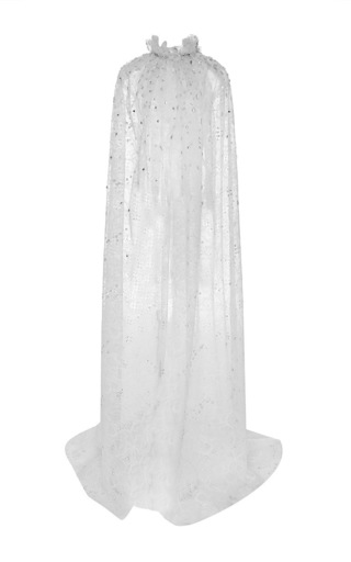 Medium naeem khan white beaded floral lace cape