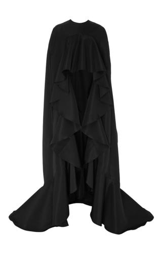Medium naeem khan black silk faille cape with ruffle trim