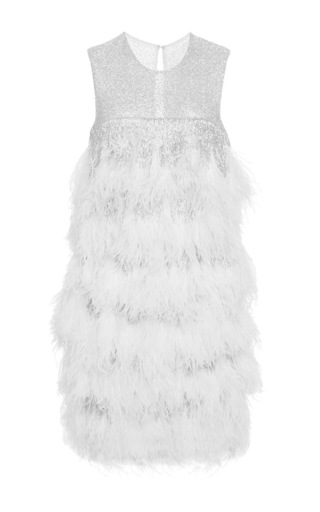 Medium naeem khan white layered fringe and ostrich feather dress