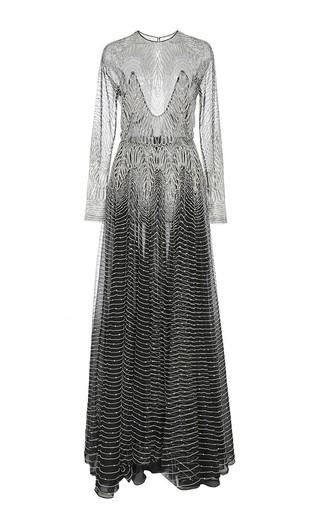Medium naeem khan silver metallic wave beaded long sleeve gown