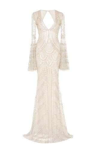 Medium naeem khan silver metallic beaded v front gown