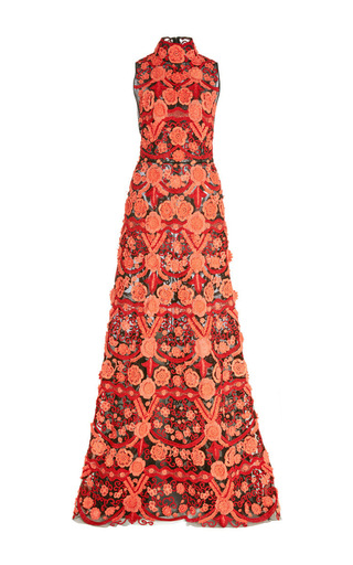 Medium naeem khan red floral embroidered applique gown