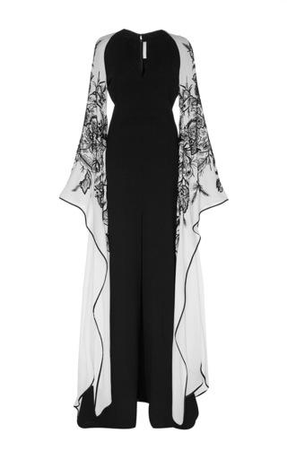 Medium naeem khan multi wool crepe kimono sleeve gown