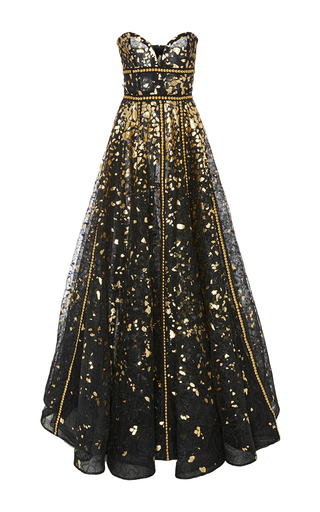 Medium naeem khan black strapless hand painted lace gown