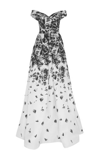 Medium naeem khan print floral print off shoulder gown in gazaar