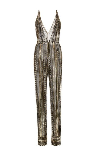 Medium naeem khan black metallic beaded v front jumpsuit