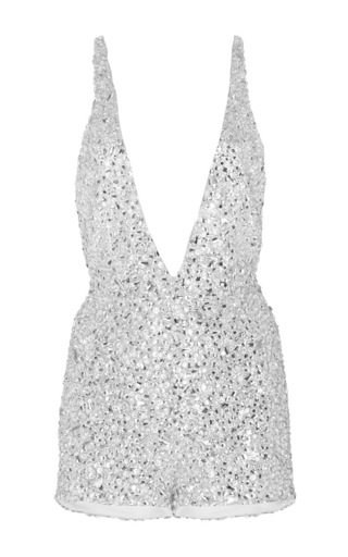 Medium naeem khan silver crystal beaded romper