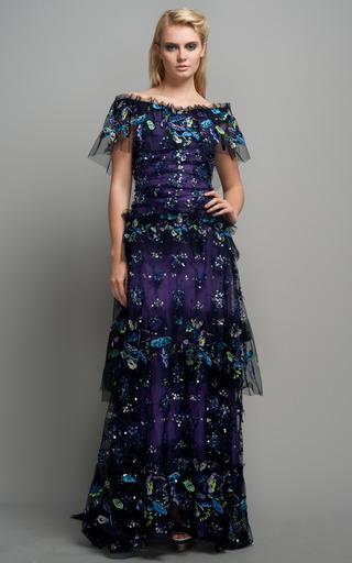 Medium rodarte purple star burst embroidered gown