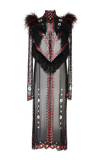 Medium proenza schouler black chiffon eyelet embroidery turtleneck dress