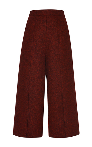 Medium proenza schouler burgundy boiled wool suiting cropped culottes pant