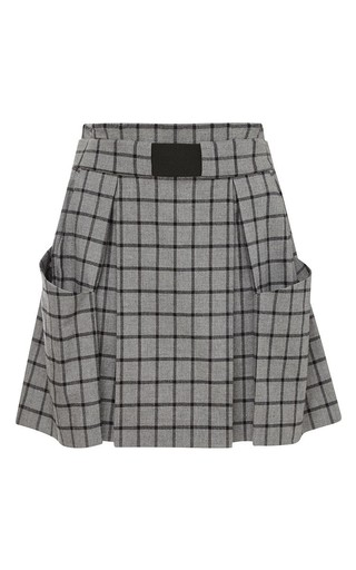 Medium thakoon addition dark grey cotton flannel plaid skirt