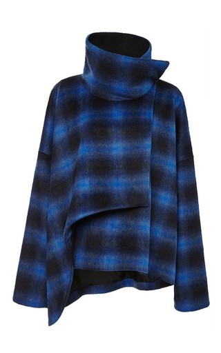 Medium thakoon addition blue brushed plaid crossover coat