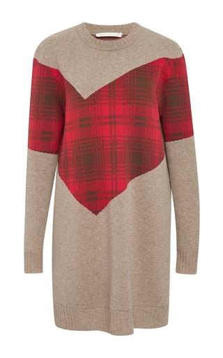 Medium thakoon addition brown oatmeal blocked plaid long sleeve dress