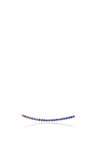 Medium ef collection blue blue sapphire curved bar ear cuff