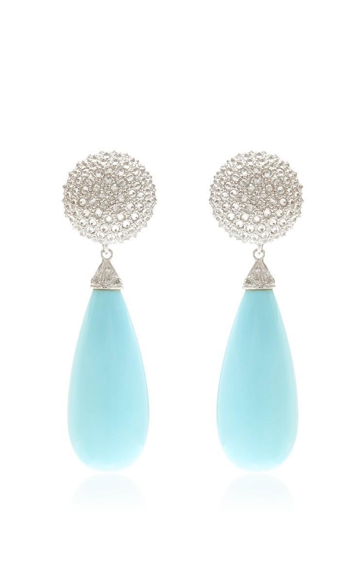 Detachable Rosecut Diamonds And Turquoise Drop Moda Operandi