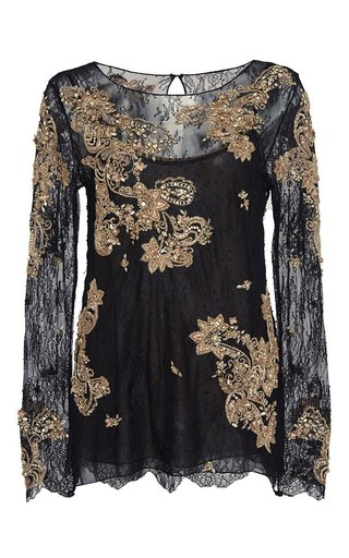 Medium marchesa black crystal embroidered chantilly lace top
