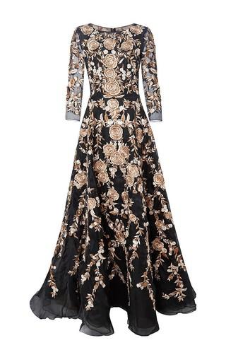 Medium marchesa black embroidered a line organza gown