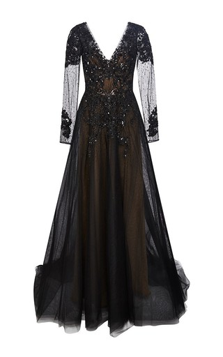 Medium marchesa black re embroidered a line tulle gown