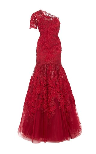 Medium marchesa red one shoulder a line lace gown