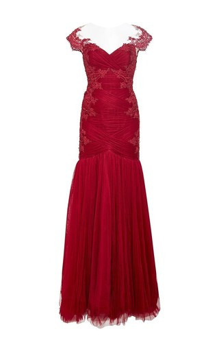 Medium marchesa red re embroidered draped lace gown