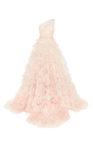 Medium marchesa pink one shoulder ruffle ball gown