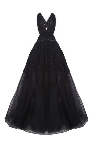 Medium marchesa black draped v neck textured ruffle ball gown