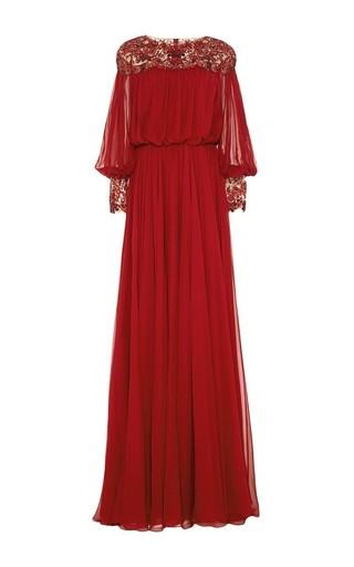 Medium marchesa red embroidered silk chiffon blouson gown