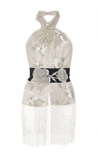 Medium marchesa black re embroidered crepe scarf halter ball gown