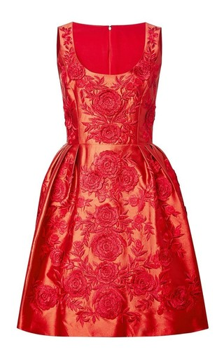 Medium marchesa red embroidered silk sheered dress
