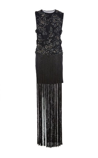 Medium marchesa black embroidered fringe skirt tabard