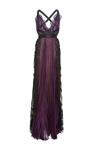 Medium marchesa purple pleated lace paneled gown