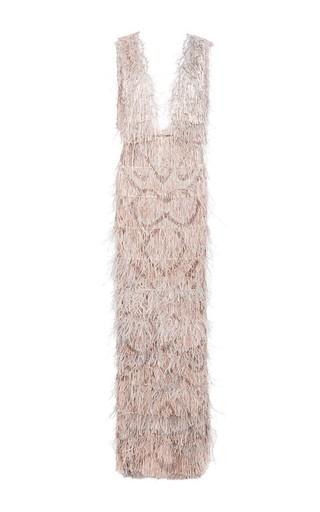 Medium marchesa silver ostrich feather v neck gown