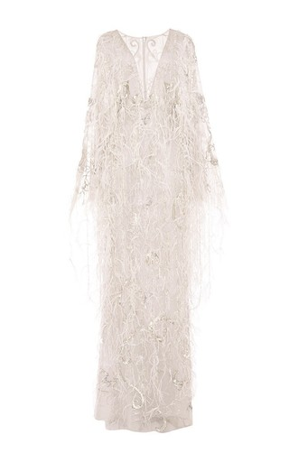 Medium marchesa dark grey re embroidered ostrich feather applique gown