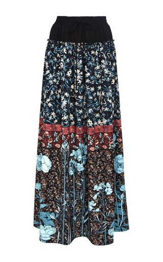 Medium clover canyon blue bohemian rhapsody crepe de chine skirt