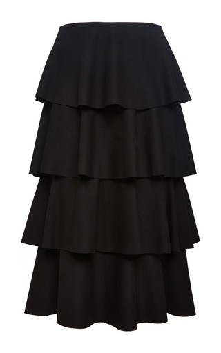 Medium clover canyon black wool suiting tiered skirt
