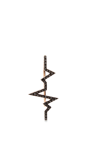 Heartbeat Earring With Black Diamonds by DIANE KORDAS Now Available on Moda Operandi